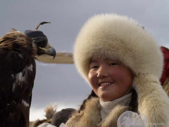 shobha gopinath Aishopan Nurgaiv, first female and youngest eagle-hunter, Mongolia